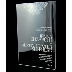 "5"" x 7"" - Clear Acrylic Invitations - Laser Engraved - USA-Made"