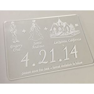 "2"" x 3.5"" - Clear Acrylic Invitations - Laser Engraved - USA-Made"