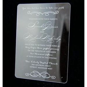 "4.5"" x 6"" - Clear Acrylic Invitations - One Color - USA-Made"