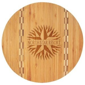 "11.75"" Round Bamboo Wood Cutting Board - Laser Engraved"