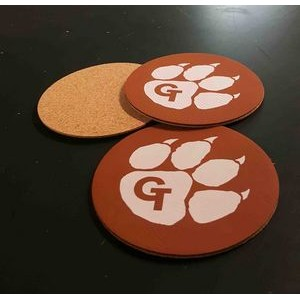 "3.5"" Printed Promotional Leatherette Coasters with Cork Backing - USA-Made"