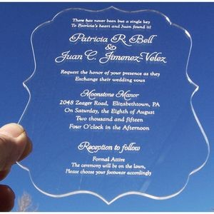 "4.5"" x 6"" - Clear Acrylic Invitations - Laser Engraved - USA-Made"
