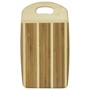 "5.125"" x 9.25"" - Striped Bamboo Cutting Board - Laser Engraved Wood"