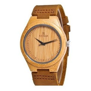 Custom Engraved/Printed Bamboo Watch & Leather Band