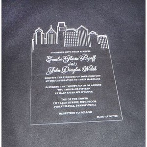 "4"" x 5"" - Clear Acrylic Invitations - Laser Engraved - USA-Made"