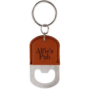"1.5"" x 2.5"" - Leatherette Bottle Opener Keychains - Laser Engraved"