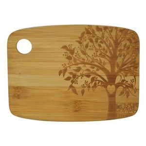"6"" x 8"" - Bamboo Wood Cheese Cutting Board w/Tree - Laser Engraved"
