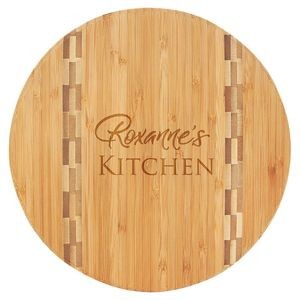 "9.75"" Round Bamboo Wood Cutting Board - Laser Engraved"
