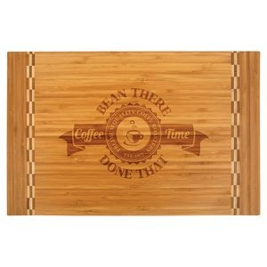 "12"" x 18.25"" - Bamboo Cutting Board with Butcher Block Inlay - Laser Engraved"
