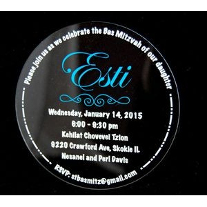 "5"" - Clear Acrylic Invitations - Color Printed - Round - USA-Made"
