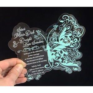 "5"" x 7"" - Clear Acrylic Invitations - One Color - USA-Made"